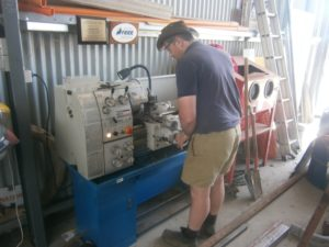 New lathe in action at the Goulburn Valley Vintage Tractor & Farm Machinery Club